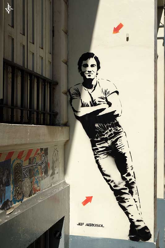 Guy sprayed as Stencil Graffiti from Jef Aerosol found in Bruessels