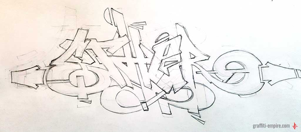 Graffiti Tutorial - improved graffiti sketch