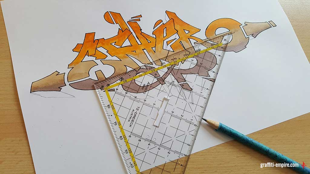 Drawing Graffiti 3D blocks with a ruler