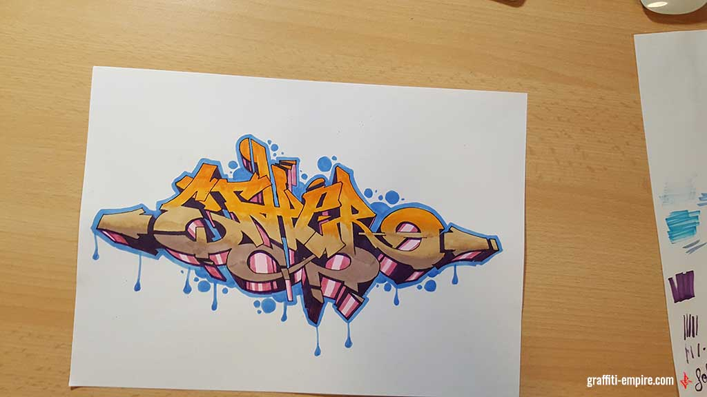 Finished Graffiti sketch with outline and background