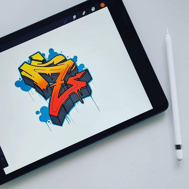 Graffiti with Procreate on Apple IPad