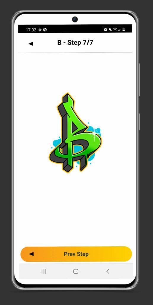 Graffiti App Screenshot - B letter tutorial