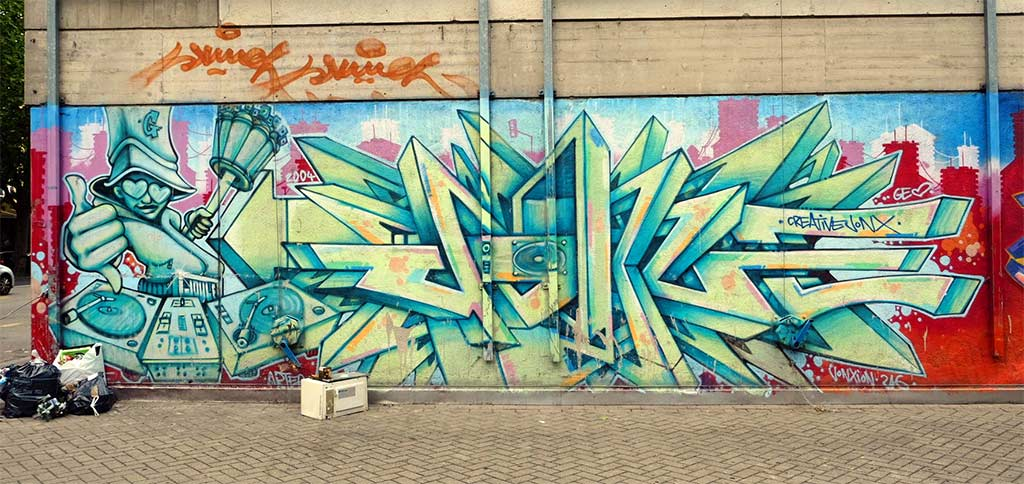 Graffiti Piece with B-Boy character in Geneve