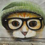 Hipster cat graffiti character