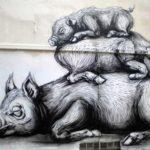 Sleeping pigs streetart in Brussels