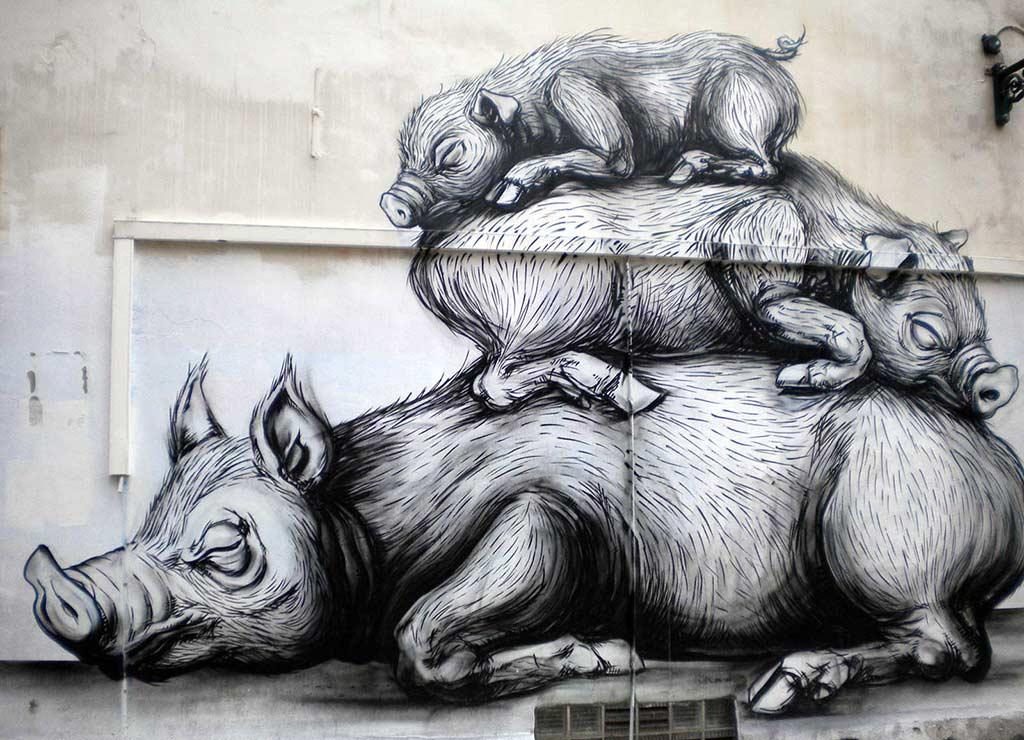 Sleeping pigs streetart in Brussels