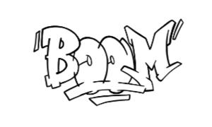 Boom graffiti outline thumbnail graphic