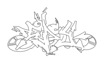 Easy graffiti outline thumbnail graphic