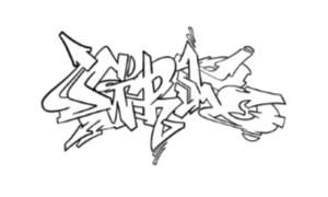 Grim graffiti outline thumbnail graphic