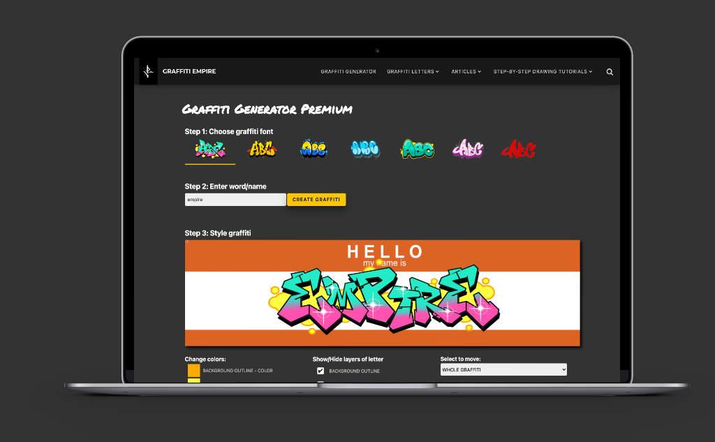 Graffiti Generator on laptop mockup