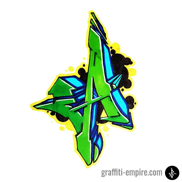Green an dblue colored wildstyle a graffiti letter