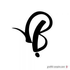 Round B Graffiti Tag Letter