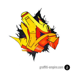 Colored wildstyle C graffiti letter