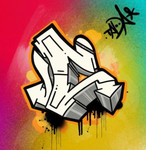 3D C wildstyle graffiti letter with rainbow colored background and tag graphic
