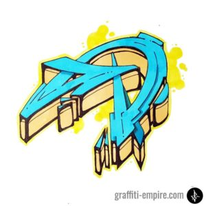 Colored wildstyle D graffiti letter
