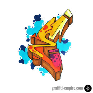 Colored wildstyle E graffiti letter with bubble background