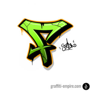F semi-wildstyle graffiti letter done with procreate