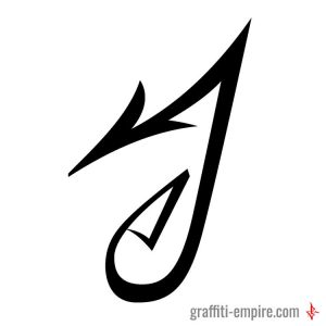 J Graffiti Letter with sharp lines