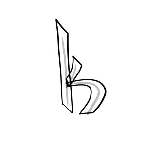 How to draw graffiti letter K tutorial step 2 graphic