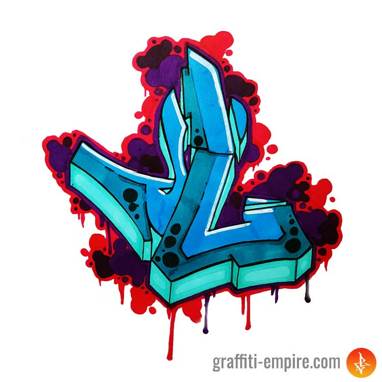 blue colored semi-wildstyle L Graffiti Letter with red bubble background