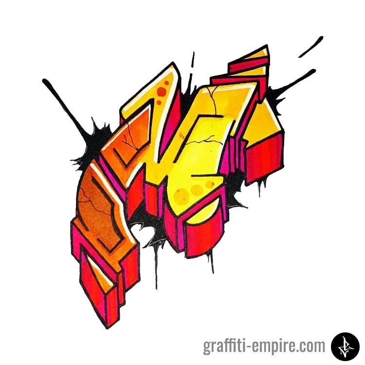 Colored semi-wildstyle M graffiti letter