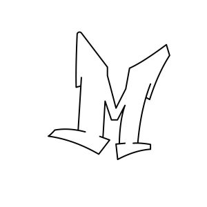 How to draw graffiti letter M tutorial step 3 graphic
