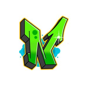 Green colored N Graffiti Letter in semi-wildstyle