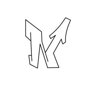 How to draw graffiti letter N tutorial step 3 graphic