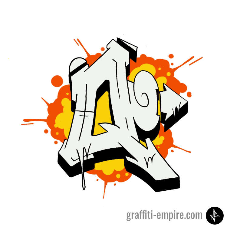 Wildstyle Q Graffiti Letter with explosion as background