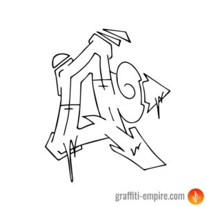 Wildstyle Q Graffiti Letter outlines
