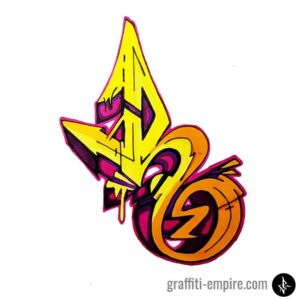 Colored wildstyle R graffiti letter