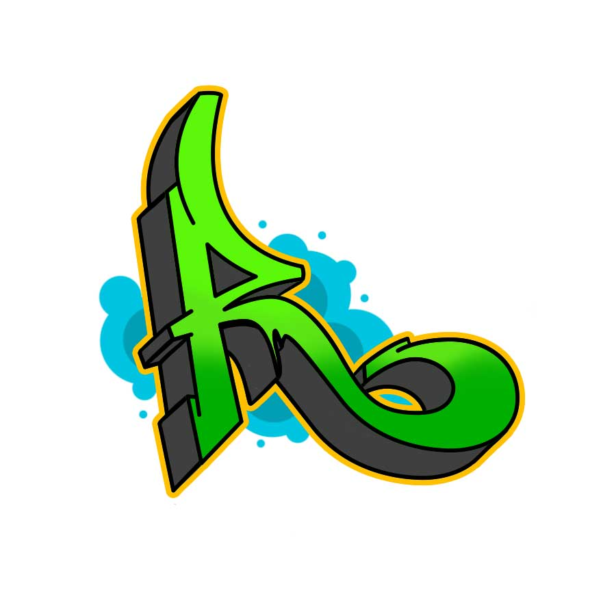 How to draw graffiti letter R tutorial step 6 graphic