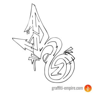 Wildstyle R Graffiti Letter outlines