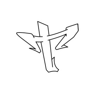 How to draw graffiti letter T tutorial step 3 graphic