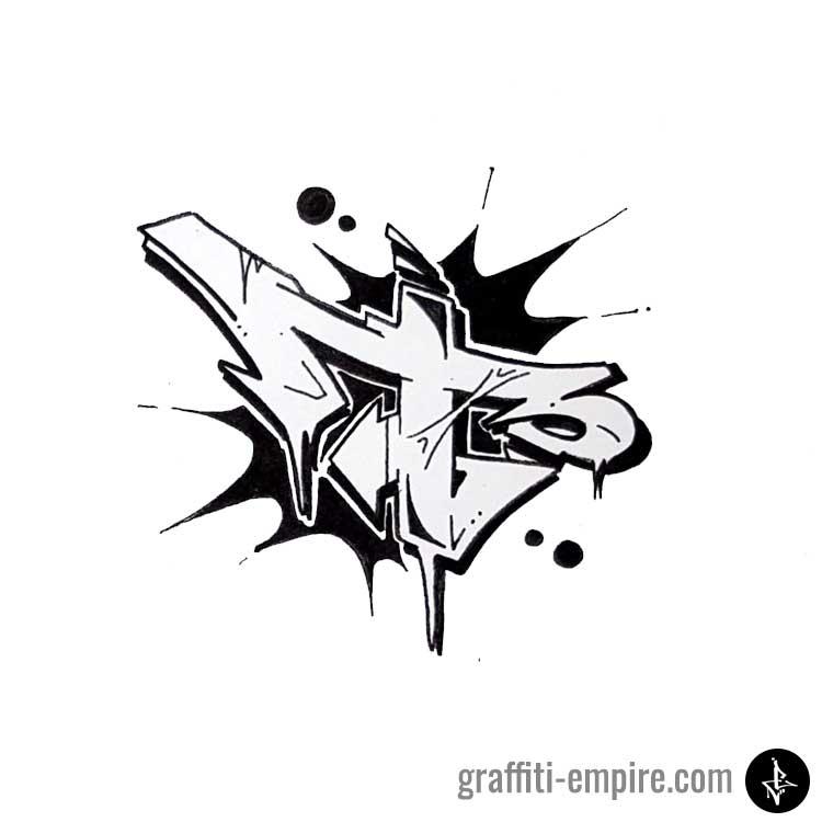 Black Monochrome Wildstyle T Graffiti Letter