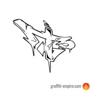 Wildstyle T Graffiti Letter outlines