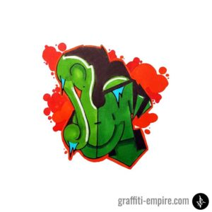 Colored U Wildstyle Graffiti Letter