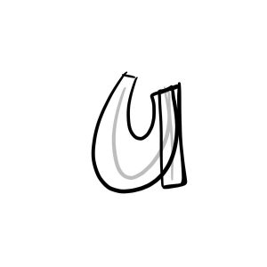 How to draw graffiti letter U tutorial step 2 graphic