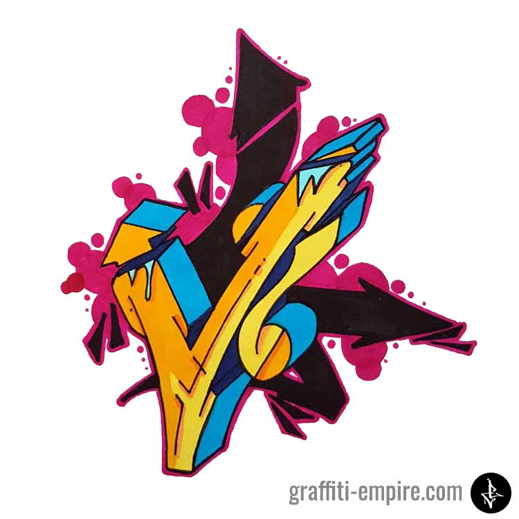 Colored V Wildstyle Graffiti Letter with arrow background
