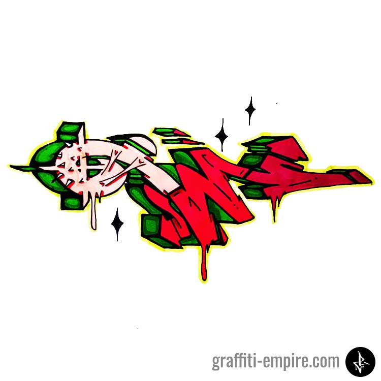 Colored W Wildstyle Graffiti Letter