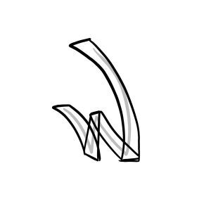 How to draw graffiti letter W tutorial step 2 graphic
