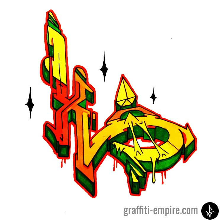 Colored wildstyle x graffiti letter graphic