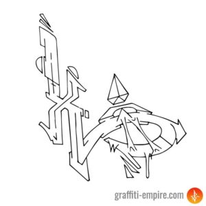 Wildstyle X Graffiti Letter outlines