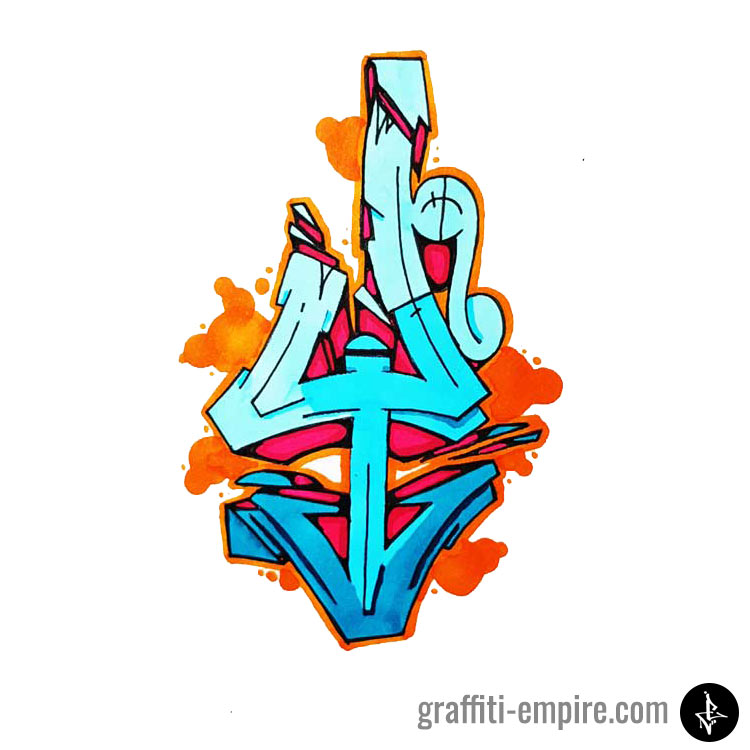 Colored wildstyle Y graffiti letter graphic