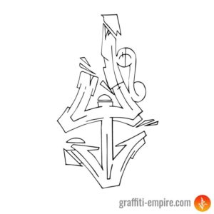 Wildstyle Y graffiti letter outlines