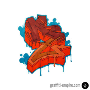 Colored Wildstyle Z Graffiti Letter