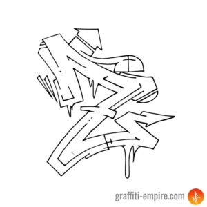 Wildstyle Z Graffiti Letter Outline