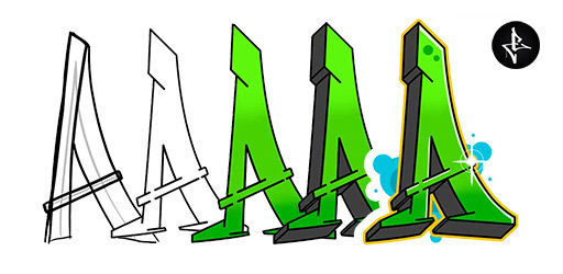 How to draw graffiti letter A step by step graphic