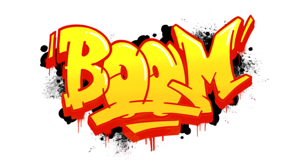 "How to draw ""Boom"" in Graffiti in 14 steps"