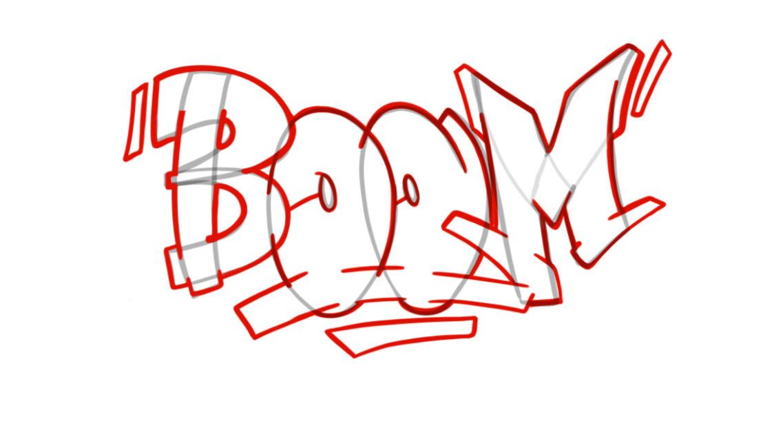 Boom Graffiti Sketching - Step 7 graphic